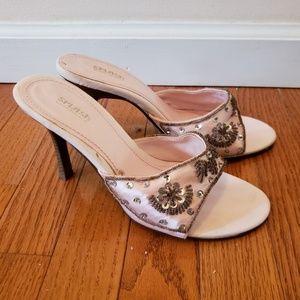 Pink beaded heels